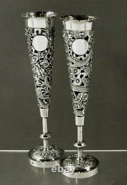 Chinese Export Silver Bud Vases (2) c1890 MAKER TYT
