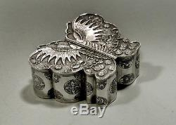Chinese Export Silver Butterfly Box c1890 SIGNED TWIN WINGED DOORS