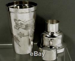 Chinese Export Silver Cocktail Shaker DRAGON CLUTCHING PEARL SIGNED