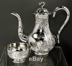 Chinese Export Silver Coffee Set c1890 SIGNED HAND CRAFTED