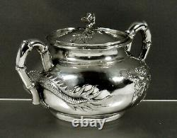 Chinese Export Silver Dragon Bowl c1875 CHONG WOO