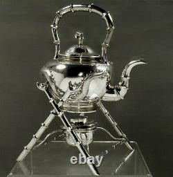 Chinese Export Silver Dragon Kettle c1875 WING CHUN