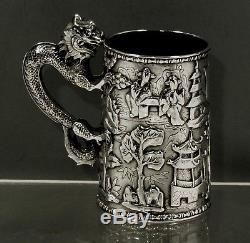 Chinese Export Silver Dragon Mug c1840 HCH RARE CANTON SHOP