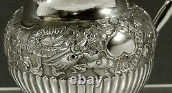 Chinese Export Silver Dragon Pitcher c1885 SIGNED YH