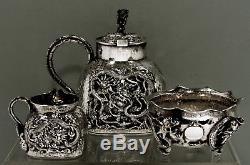 Chinese Export Silver Dragon Tea Set c1890 TU MAO XING