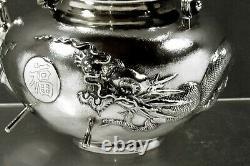 Chinese Export Silver Dragon Tea Set c1890 ZEESUNG