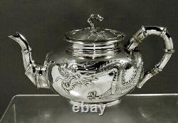 Chinese Export Silver Dragon Teapot c1875 CHONG WOO