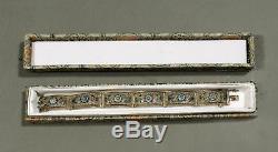 Chinese Export Silver & Enamel Bracelet SIGNED SILVER FILIGREE