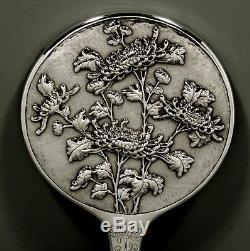 Chinese Export Silver Hand Mirror c1890 Hung Chong ORIGINAL GLASS