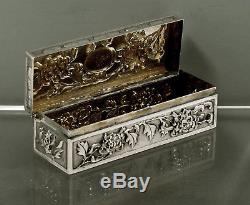 Chinese Export Silver Scolar's Box c1890 Hung Chong