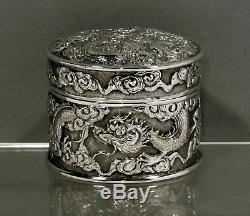 Chinese Export Silver Tea Caddy Box c1880 WA 9 OUNCES