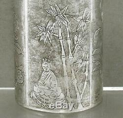 Chinese Export Silver Tea Caddy Signed