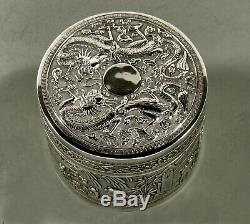 Chinese Export Silver Tea Caddy c1890 Dragons Tax Collector +