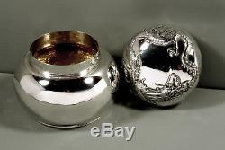 Chinese Export Silver Tea Caddy c1890 LUEN HING DRAGON BOX