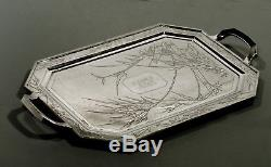 Chinese Export Silver Tea Set Tray c1890 NANKING SILVER 74 OUNCES