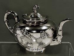 Chinese Export Silver Tea Set c1890 KWAN WO BIRDS IN GARDEN 40 OZ