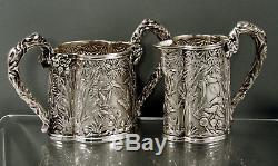 Chinese Export Silver Tea Set c1890 SIGNED BUTTERFLIES IN GARDEN