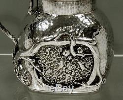 Chinese Export Silver Teapot c1885 TU MAO XING BIRDS IN PRUNUS GARDEN