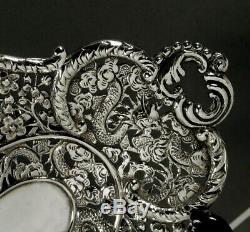 Chinese Export Silver Tray c1890 Signed Battling Dragons