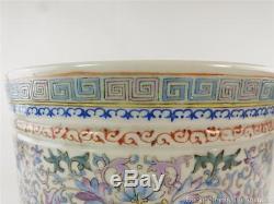 Chinese Famille Rose Porcelain Pot Planter Hardwood Stand Lotus Republic Lotus