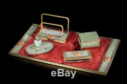 Chinese Five Piece Hardstone Jade Carnelian Desk Set Attrib EDWARD FARMER