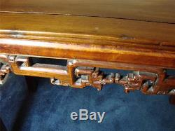 Chinese Hardwood Side Table / Altar Table With Carved Dragon Frieze