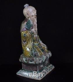 Chinese Kangxi Biscuit Glazed Famille Verte Seated Dignitary Figure