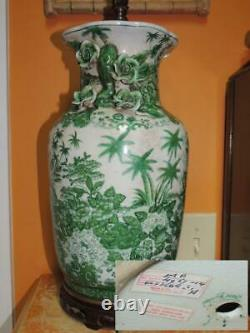 Chinese Lamp 28 Vase Porcelain Hand Painted United Wilson rose palm trees green