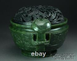 Chinese Nephrite Spinach Jade Censer, Incense Burner, Ruyi Handles, 18/19th C
