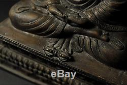 Chinese Old Buddha Bronze Statue / Mark on Bottom / W 15× D 9.5 × H 20.5 cm