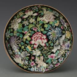 Chinese Old Marked Black Ground Famille Rose Flowers Pattern Porcelain Plate
