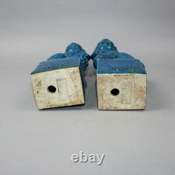 Chinese Old Pair Marked Blue Glaze Porcelain Foo Dog Statues