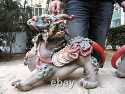 Chinese Old WuCai porcelain talisman Foo Dog Lion beast kylin Kilin Kirin Pair