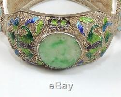 Chinese Pierced Jade Sterling Filigree Cloisonne Enamel Bracelet Bats Scepter