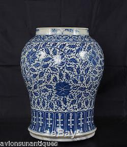 Chinese Porcelain Blue & White Glaze Lotus Vase Qing Dynasty 48cm Antique