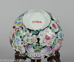 Chinese Porcelain Millefleur Bowl Famille Noire Qing / Republic 1891-1921 CHINA