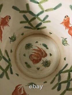 Chinese Porcelain Monumental Fish Bowl Planter 20.5 Diameter 18 High Large