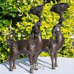 Chinese Qianlong Bronze Deer Candle Holders Candlesticks Figure Statue Censer