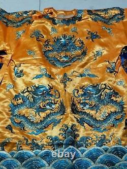 Chinese Qing Dynasty court collection emperor clothes Embroidery dragon