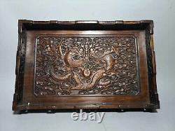 Chinese Qing Dynasty old antique Yellow wood Hand carving dragon tray EVO