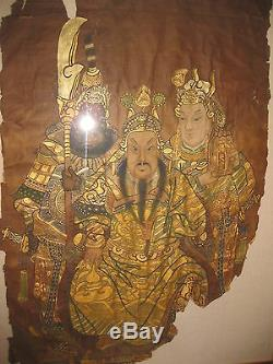 Chinese Qing dynasty painting General Guan Yu & Guan Ping from Han dynasty