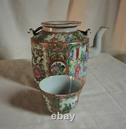 Chinese Rose Medallion teapot +cup in travelling basket. Original label, 1920's
