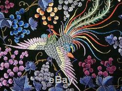 Chinese Silk Embroidered Phoenix Birds Piano Shawl Vivid Colors Beautiful