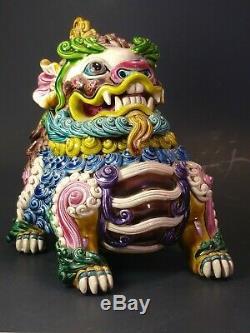 Chinese WuCai Porcelain & Pottery Foo Dog Lion Dragon kylin statue censer burner