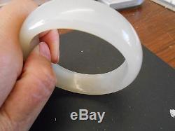 Chinese (antique) White Nephrite Jade Hetian Bangle Bracelet (72 gram)