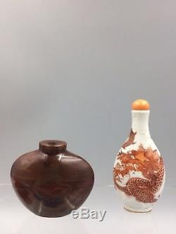 Chinese antique incised porcelain coral-red enamel Dragon Snuff Bottle Qing
