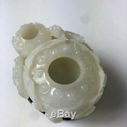 Chinese carved white jade lotus blossom brush washer, China