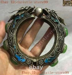 Chinese dynasty silver Enamel Dragon inlay green jade Exorcism amulet bracelet