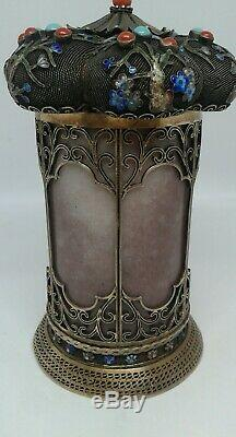 Chinese gold Silver Tea Caddy Jade Cloisonne Enamel Turquoise Red Coral