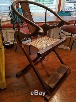 Chinese hardwood folding horseshoe back chair, Jiaoyi Asian Antique